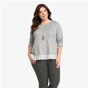 Torrid Knit chiffon Ruffle Hem Sweater 6x